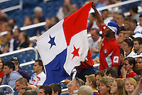 7 June 2011: Panama fans hold up a flag during the CONCACAF soccer match between Panama and Guadeloupe at Ford Field Detroit, Michigan.