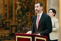 Prince Felipe of Spain attend the National Awards of Culture 2011 and 2012 at Palacio de El Pardo. February 19, 2013. (ALTERPHOTOS/Caro Marin) /NortePhoto