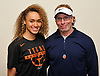 Celeste Taylor, Long Island Lutheran girls basketball standout, poses for a portrait at the school with head coach Rich Slater after signing a letter of intent to play college basketball at the University of Texas on Wednesday, Nov. 14, 2018.