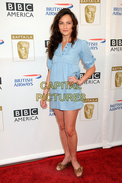 LARA PULVER .8th Annual BAFTA LA TV Tea Party held at the Hyatt Regency Century Plaza Hotel,  Century City, California, USA, 28th August 2010..full length blue denim shirt mini dress hand on hip .CAP/ADM/BP.©Byron Purvis/AdMedia/Capital Pictures.