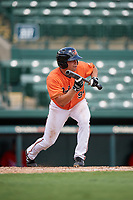 Baltimore Orioles Nick Horvath (94) squares around to bunt during a Florida Instructional League game against the Philadelphia Phillies on October 4, 2018 at Ed Smith Stadium in Sarasota, Florida.  (Mike Janes/Four Seam Images)
