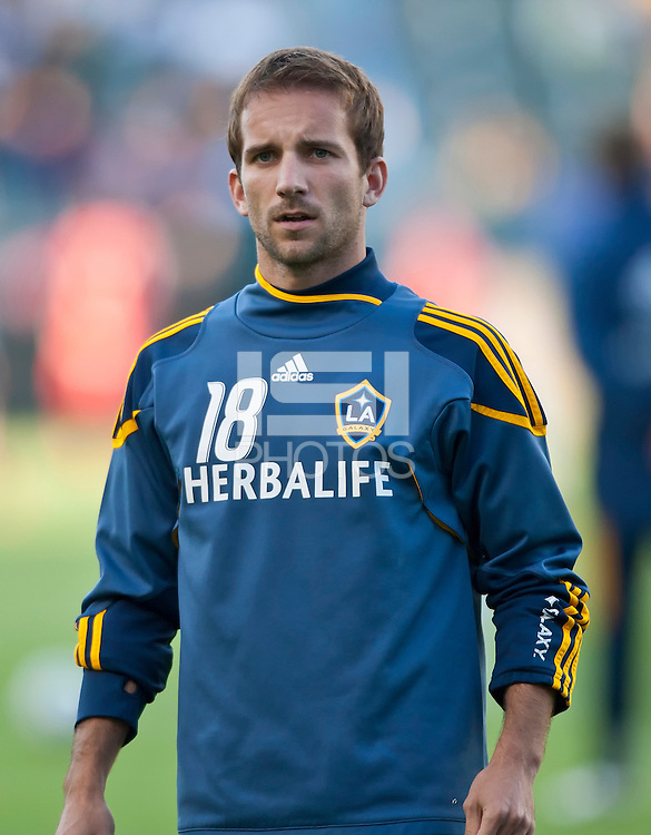 CARSON, CA – June 11, 2011: LA Galaxy forward Mike Magee (18)  the match between LA Galaxy and Toronto FC at the Home Depot Center in Carson, California. Final score LA Galaxy 2, Toronto FC 2.