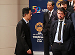 May 6, 2017, Yokohama, Japan -  Chinese Finance Minister Xiao Jie (L) arrives at the photo session of the Board members of Governors of the Asian Development Bank (ADB) at the ADB annual meeting in Yokohama, suburban Tokyo on Saturday, May 6, 2017. ADB has a four-day session for its annual meeting to celebrate the 50th anniversary of the ADB.   (Photo by Yoshio Tsunoda/AFLO) LwX -ytd-