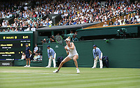 Alison Riske (USA) during her match against Serena Williams (USA) in their Ladies' Singles Quarter-Finals match<br /> <br /> Photographer Rob Newell/CameraSport<br /> <br /> Wimbledon Lawn Tennis Championships - Day 8 - Tuesday 9th July 2019 -  All England Lawn Tennis and Croquet Club - Wimbledon - London - England<br /> <br /> World Copyright © 2019 CameraSport. All rights reserved. 43 Linden Ave. Countesthorpe. Leicester. England. LE8 5PG - Tel: +44 (0) 116 277 4147 - admin@camerasport.com - www.camerasport.com