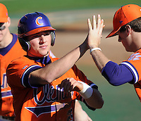 Clemson's Kyle Parker scores a run in the opening game of the 2008 season between Mercer and Clemson University at Doug Kingsmore Stadium, Clemson, S.C. Photo by: Tom Priddy/Four Seam Images