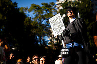 NewYork, United States, October 08, 2011..Protesters affiliated with the Occupy Wall Street movement march in Lower Manhattan's Financial District near Wall Street to Washington Square Park in New York October 8, 2011. VIEWpress / Eduardo Munoz Alvarez.