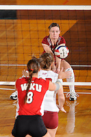 20 November 2008:  Denver libero Kacie Wikierak (1) returns the ball during the WKU 3-0 victory over Denver in the first round of the Sun Belt Conference Championship tournament at FIU Stadium in Miami, Florida.