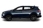 Car driver side profile view of a 2018 Toyota RAV4 Black edition Hybride 5 Door SUV