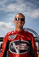Sept. 1, 2013; Clermont, IN, USA: NHRA pro stock motorcycle rider Matt Smith during qualifying for the US Nationals at Lucas Oil Raceway. Mandatory Credit: Mark J. Rebilas-
