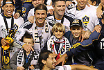 20 November 2011: Los Angeles' David Beckham (ENG) holds his three sons in his arms as the team celebrates after the game. The Los Angeles Galaxy defeated the Houston Dynamo 1-0 at the Home Depot Center in Carson, CA in MLS Cup 2011, Major League Soccer's championship game.