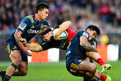 June 3rd 2017, AMI Stadium, Christchurch, New Zealand; Super Rugby; Crusaders versus Highlanders;  Jack Goodhue of the Crusaders is tackled by Rob Thompson and Malakai Fekitoa of the Highlanders during the Super Rugby match