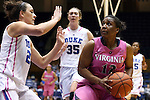 04 February 2016: Virginia's Breyana Mason (12) and Duke's Rebecca Greenwell (left). The Duke University Blue Devils hosted the University of Virginia Cavaliers at Cameron Indoor Stadium in Durham, North Carolina in a 2015-16 NCAA Division I Women's Basketball game. Both teams wore pink as part of the annual Play4Kay game in support of the Kay Yow Cancer Fund. Duke won the game 67-52.