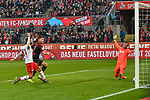 30.11.2019, Rheinenergiestadion, Köln, GER, DFL, 1. BL, 1. FC Koeln vs FC Augsburg, DFL regulations prohibit any use of photographs as image sequences and/or quasi-video<br /> <br /> im Bild Florian Niederlechner (#7, FC Augsburg) macht das Tor zum 0:1<br /> <br /> Foto © nordphoto/Mauelshagen