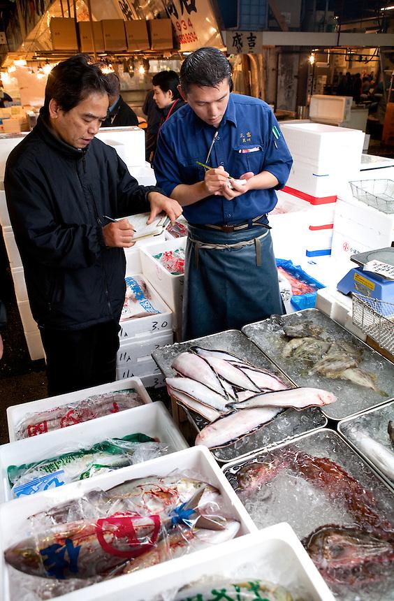 Buying fish at Tsukiji Fish Market