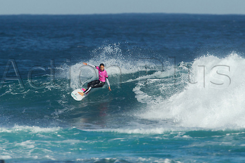 April 2nd 2017, Margaret River,  Perth, Western Australia;   The Drug Aware Margaret River Pro Surfing Competition; Sally Fitzgibbons (AUS) cuts back on a wave during her heat on day 5 against Tatiana Weston-Web (HAW) Fitzgibbons won the heat
