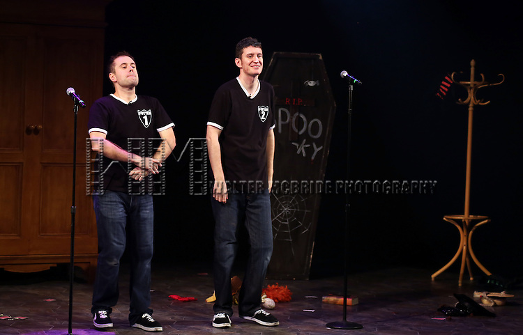 """Jefferson Turner and Daniel Clarkson from """"Potted Potter"""" Celebrate """"Harry Potter"""" And J.K. Rowling's Birthday during their Curtain Call at Little Shubert Theatre on July 30, 2013 in New York City."""
