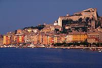 Portovenere, Italy. Overview of Mediterranean port city.