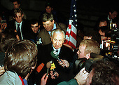 Former International Olympic Committee President Juan Antonio Samaranch passed away in Barcelona, Spain on Wednesday, April 21, 2010. He was 89 years old.  In this file photo dated December 14, 1999, Samaranch is surrounded by press following a Washington press conference on 14 December, 1999 to announce agreement on improving the World Anti-Doping Agency (WADA)..Credit: Ron Sachs / CNP