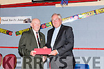 A farewell party was held last friday night for Canon O' Shea in the sports complex Abbeyfeale. Sean Broderick presenting a gift of appreciation to Canon O' Shea on behalf of the people of the parish.