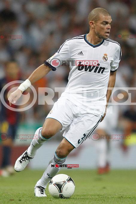 Real Madrid's  Pepe during Super Copa of Spain on Agost 29th 2012...Photo:  (ALTERPHOTOS/Ricky) Super Cup match. August 29, 2012. <br />  (foto:ALTERPHOTOS/NortePhoto.com<br /> <br /> **CREDITO*OBLIGATORIO** <br /> *No*Venta*A*Terceros*<br /> *No*Sale*So*third*<br /> *** No*Se*Permite*Hacer*Archivo**<br /> *No*Sale*So*third*