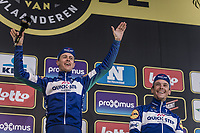 Podium party with team mates:<br /> 1. Niki Terpstra (NED/Quick Step Floors)<br /> 3. Philippe Gilbert (BEL/Quick Step Floors)<br /> <br /> <br /> 102nd Ronde van Vlaanderen 2018<br /> 1day race: Antwerp › Oudenaarde - BEL (265k)