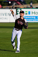 Milwaukee Brewers pitcher Zach Davies (1) warms up in the outfield prior to a rehab outing with the Wisconsin Timber Rattlers in a Midwest League game against the Clinton LumberKings on June 29, 2018 at Fox Cities Stadium in Appleton, Wisconsin. Clinton defeated Wisconsin 9-7. (Brad Krause/Four Seam Images)