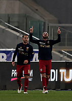 Calcio, Serie A: Lazio - Genoa, Roma, Stadio Olimpico, 5 Febbraio 2018. <br /> Genoa's Goran Pandev (r) celebrates after scoring with his teammates Andrea Bertolacci (l) during the Italian Serie A football match between Lazio and Genoa at Rome's Stadio Olimpico, February 5, 2018.<br /> UPDATE IMAGES PRESS/Isabella Bonotto