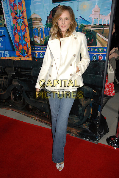 """MONET MAZUR.""""The Darjeeling Limited"""" Los Angeles Premiere at the Academy of Motion Picture Arts & Sciences, Beverly Hills, California, USA..October 4th, 2007.full length jeans denim white cream jacket coat black bag purse clutch hand in pocket .CAP/ADM/BP.©Byron Purvis/AdMedia/Capital Pictures."""