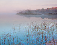 Sleeping Bear Dunes, MI<br /> Lifting fog and calm waters at sunrise on Loon Lake in the fall
