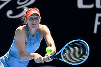 January 20, 2019: 30th seed Maria Sharapova of Russia in action in the fourth round match against 15th seed Ashleigh Barty of Australia on day seven of the 2019 Australian Open Grand Slam tennis tournament in Melbourne, Australia. Photo Sydney Low
