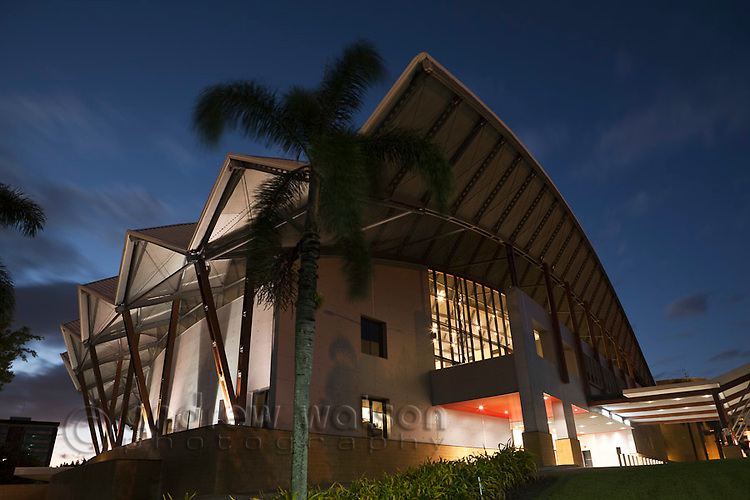Cairns Convention Centre at dusk.  Cairns, Queensland, Australia
