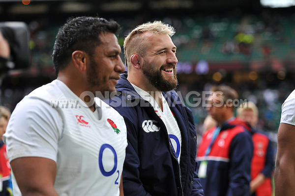 Joe Marler of England is all smiles after the match. QBE International match between England and Ireland on September 5, 2015 at Twickenham Stadium in London, England. Photo by: Patrick Khachfe / Onside Images