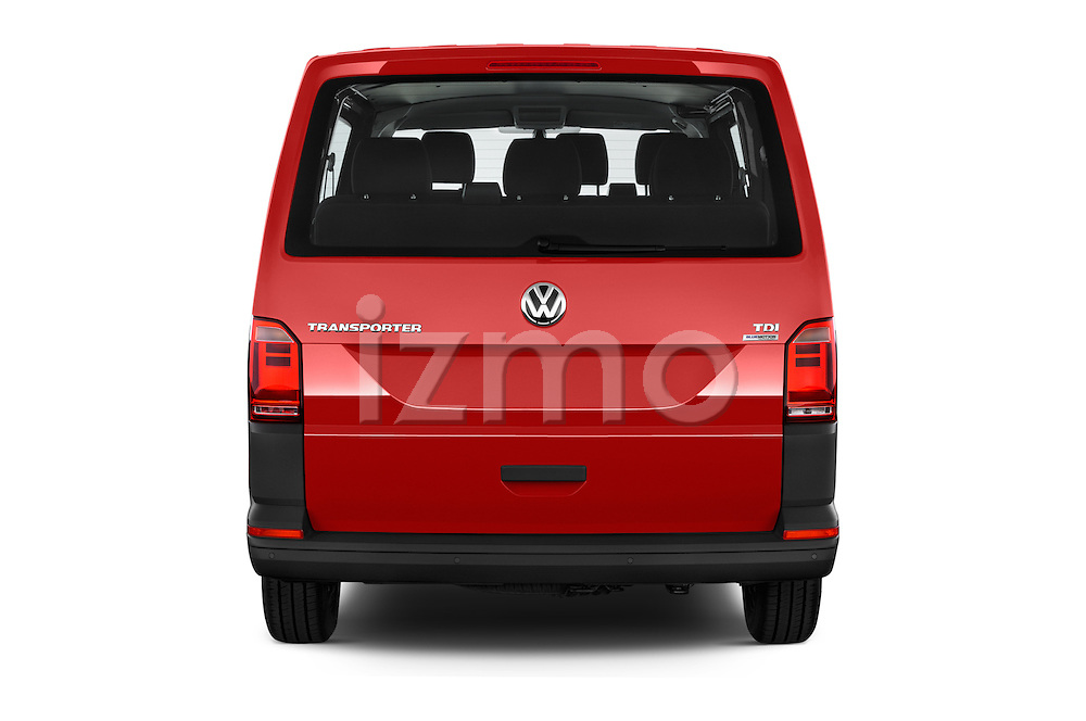 Straight rear view of 2016 Volkswagen Transporter - 5 Door Passenger Van Rear View  stock images