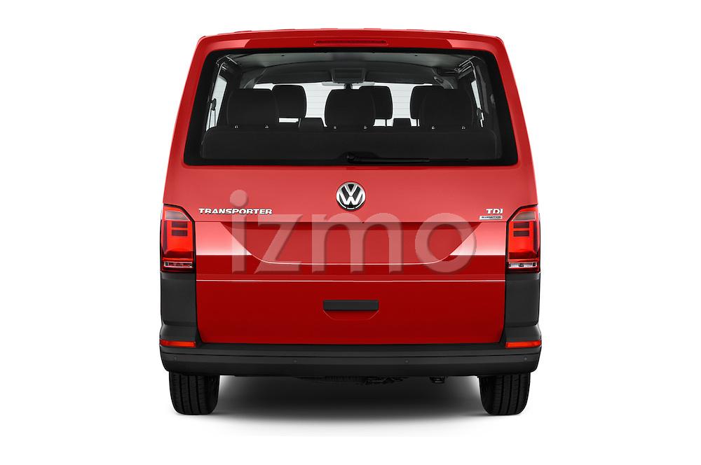 Straight rear view of 2016 Volkswagen Transporter - 5 Door Passenger Van Rear View  stock images