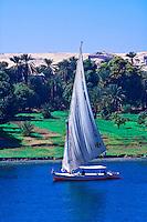 Feluccas on the Nile River near Aswan, Egypt