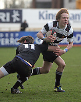 11 March 2013; Adam Heaps in action during the Medallion Shield Final between Wallace High School and Campbell College at Ravenhill, Belfast, DICKSONDIGITAL