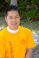 Portrait of Dragon Festival drummer. Dragon Festival Lake Phalen Park St Paul Minnesota USA
