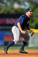 Third baseman David Thompson (8) of the Columbia Fireflies plays defense in a game against the Greenville Drive on Sunday, April 24, 2016, at Fluor Field at the West End in Greenville, South Carolina. Greenville won, 5-1. (Tom Priddy/Four Seam Images)