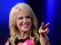 National Harbor, MD - February 23, 2017: Kellyanne Conway, advisor to President Donald Trump, points to her two daughters, seated in the audience, as she participates in a discussion during the Conservative Political Action Conference at the Gaylord Hotel in National Harbor, MD, February 23, 2017.  (Photo by Don Baxter/Media Images International)