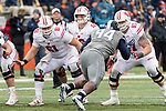 Wisconsin Badgers offensive linemen Tyler Biadasz (61) and Jon Dietzen (67) block during an NCAA College Big Ten Conference football game against the Illinois Fighting Illini Saturday, October 28, 2017, in Champaign, Illinois. The Badgers won 24-10. (Photo by David Stluka)