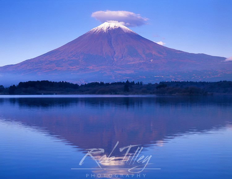 Japan, Yamanashi, Tanuki Lake, Mt. Fuji with Lenticular Cloud