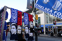 Scarves on sale of Antonio Conte, Chelsea Manager, and Manchester United Manager, Jose Mourinho on the market stalls outside Fulham Broadway Underground Station during Chelsea vs Manchester United, Premier League Football at Stamford Bridge on 5th November 2017
