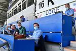 Reporter auf der Pressetribüne  beim Spiel in der 3. Liga, SV Waldhof Mannheim - KFC Uerdingen 05.<br /> <br /> Foto © PIX-Sportfotos *** Foto ist honorarpflichtig! *** Auf Anfrage in hoeherer Qualitaet/Aufloesung. Belegexemplar erbeten. Veroeffentlichung ausschliesslich fuer journalistisch-publizistische Zwecke. For editorial use only. DFL regulations prohibit any use of photographs as image sequences and/or quasi-video.