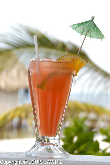 rum punch tropical drinks colorful umbrella straw palm tree