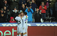 Swansea City's Oli McBurnie celebrates scoring the opening goal with team-mates Connor Roberts and Matt Grimes<br /> <br /> Photographer Kevin Barnes/CameraSport<br /> <br /> The EFL Sky Bet Championship - Swansea City v West Bromwich Albion - Wednesday 28th November 2018 - Liberty Stadium - Swansea<br /> <br /> World Copyright &copy; 2018 CameraSport. All rights reserved. 43 Linden Ave. Countesthorpe. Leicester. England. LE8 5PG - Tel: +44 (0) 116 277 4147 - admin@camerasport.com - www.camerasport.com