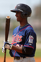 Minnesota Twins shortstop Niko Goodrum #21 during a minor league spring training intrasquad game at the Lee County Sports Complex on March 25, 2012 in Fort Myers, Florida.  (Mike Janes/Four Seam Images)