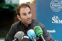 Alejandro Valverde in press conference during the second day of rest of La Vuelta 2012.September 4,2012. (ALTERPHOTOS/Acero) /NortePhoto.com<br /> <br /> **CREDITO*OBLIGATORIO** <br /> *No*Venta*A*Terceros*<br /> *No*Sale*So*third*<br /> *** No*Se*Permite*Hacer*Archivo**<br /> *No*Sale*So*third*