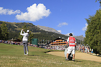 Matthew Fitzpatrick (ENG) plays his 2nd shot on the 18th hole during Saturday's Round 3 of the 2018 Omega European Masters, held at the Golf Club Crans-Sur-Sierre, Crans Montana, Switzerland. 8th September 2018.<br /> Picture: Eoin Clarke | Golffile<br /> <br /> <br /> All photos usage must carry mandatory copyright credit (&copy; Golffile | Eoin Clarke)