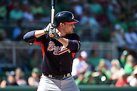 Atlanta Braves infielder Phil Gosselin (11) during a Spring Training game against the Boston Red Sox on March 17, 2015 at JetBlue Park at Fenway South in Fort Myers, Florida.  Atlanta defeated Boston 11-3.  (Mike Janes/Four Seam Images)