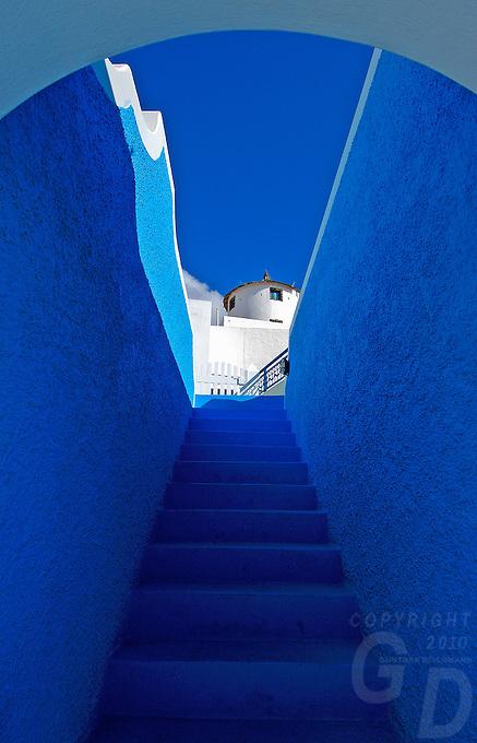 The Blue steps the colors of Santorini, Greece